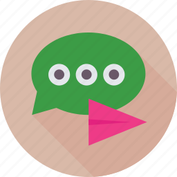 chat, chat bubble, conversation, paperplane, speech icon