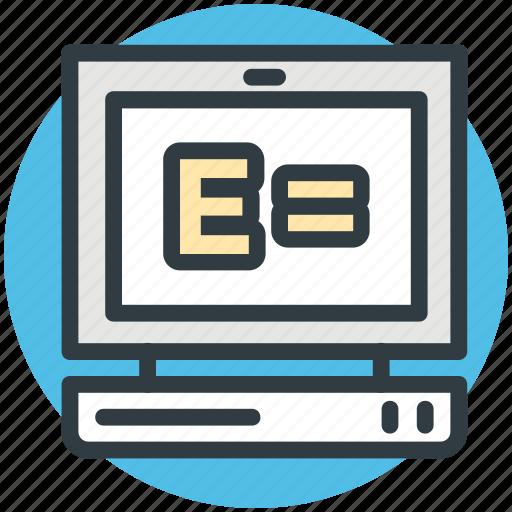 emc2, equivalence, monitor, physics, scientific formula icon