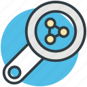 chemistry, laboratory research, magnifying glass, molecules, science icon