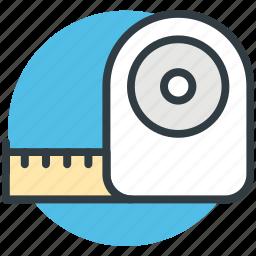 centimeter, cloth measure, measuring tape, meter measuring, tool icon