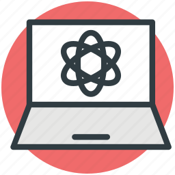 atom sign, communication, laptop, molecule display, science concept icon