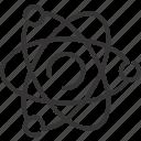 atom, chemistry, proton, science icon
