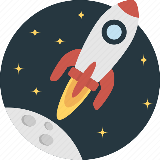 fly, moon, rocket, ship, space icon