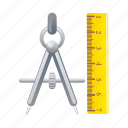 divider, equipment, measure, ruler, tool icon
