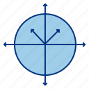 arrow, circle, line, round, science icon