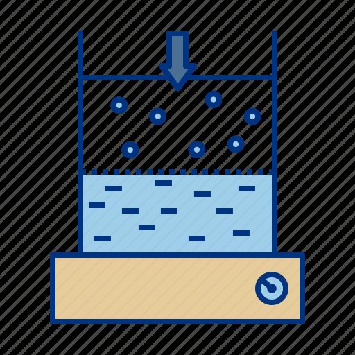 air, beaker, liquid, pressure, solid, up icon