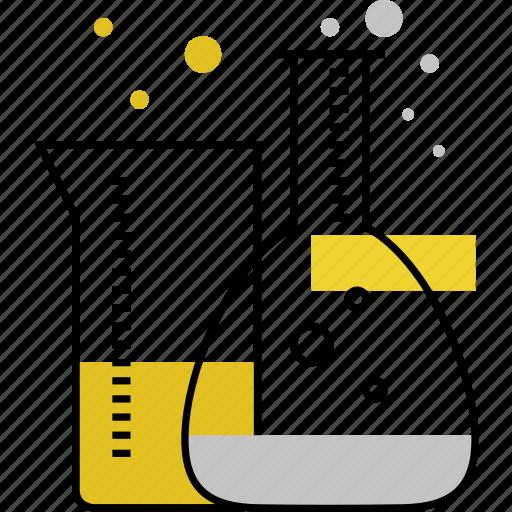 alchemy, chemistry, flask, glass, lab, test, tubes icon