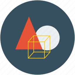 circle, cubic box, shapes, triangle icon