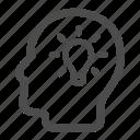 bulb, head, idea, light, man, profile icon