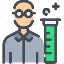chemistry, flasks, laboratory, person, science, test, tube icon
