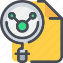 document, file, laboratory, learn, research, science, search icon