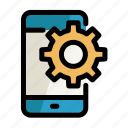 cogwheel, digital, phone, screen, setting icon