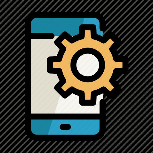 cogwheel, digital, phone, screen, setting icon