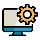 cogwheel, computer, digital, pc, screen, setting icon