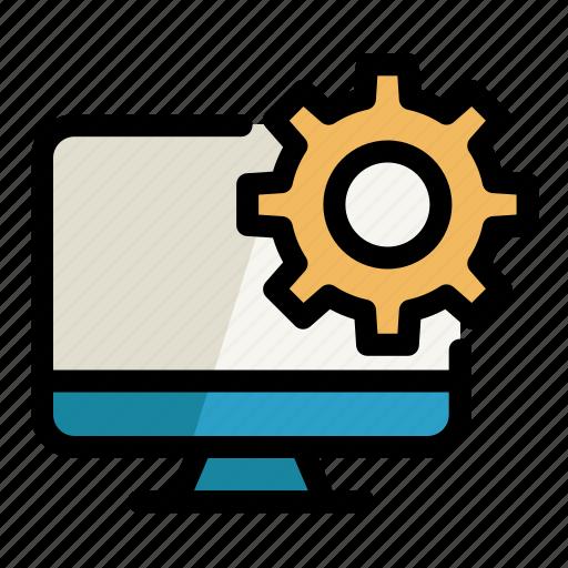 cogwheel, computer, digital, pc, screen, setting icon