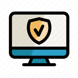 computer, digital, protection, screen, security, setting, shield icon