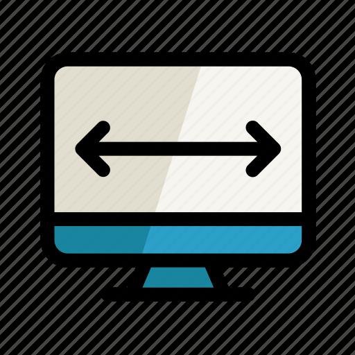 arrow, computer, digital, pc, screen, setting, stretch icon