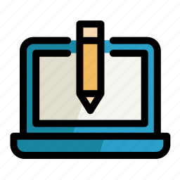 computer, digital, laptop, pc, pencil, screen, setting icon