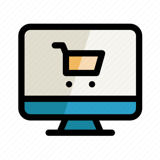 basket, computer, digital, pc, screen, setting, shopping icon