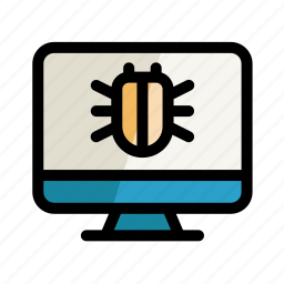 bug, computer, digital, pc, screen, setting, virus icon