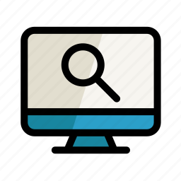 computer, digital, magnifier, pc, screen, search, setting icon