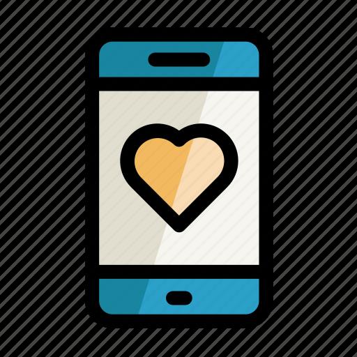 digital, heart, like, phone, screen, setting icon