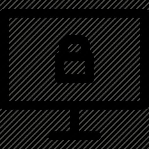 computer, internet, locked, media, screen, secure, tv icon