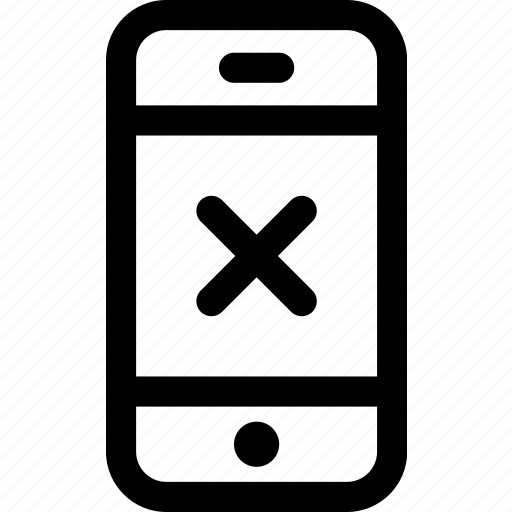 closed, device, internet, mobile, phone, rejected, screen icon