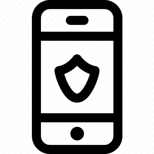device, internet, mobile, phone, screen, security, shield icon