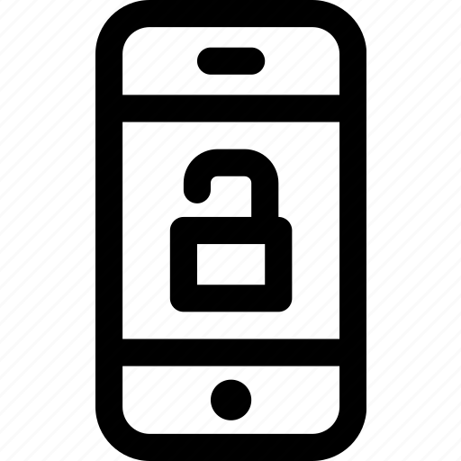 device, internet, mobile, open, phone, screen, unlocked icon