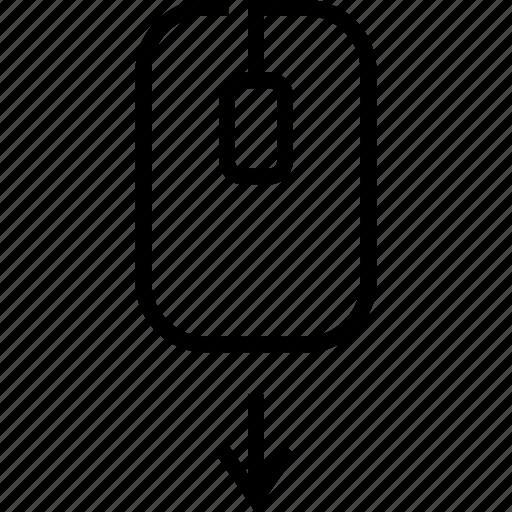 arrows, bottom, location, marker, move, pointer, scroll down icon