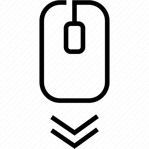 arrow, bottom, location, marker, move, pointer, scroll down icon