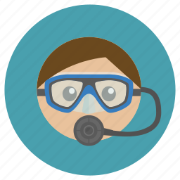 breathing, course, diver, diving, equipments, face, mask, regulator, scuba, underwater icon