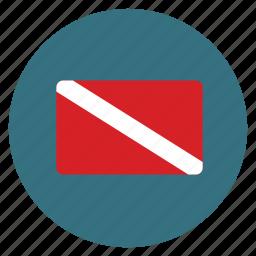 dive, dive flag, diving, equipments, flag, scuba, scuba flag icon