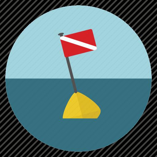 buoy, dive flag, diving, diving flag, equipments, flag, scuba icon