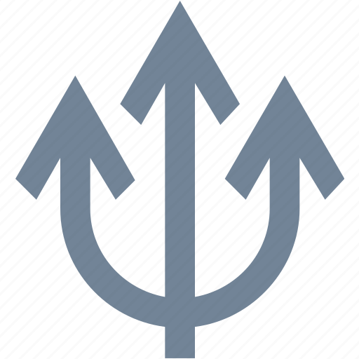 activities, arrow, diving, poseidon, scuba, sports, trident icon