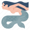 ocean, aquatic, creature, mermaid, mythology, fairy, tale icon