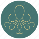 animal, octopus, octopus logo, sea, sealife, squid, under water icon