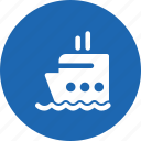 boat, cruise, ocean, sea, ship, travelling icon