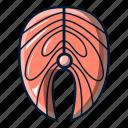 cartoon, fillet, fish, logo, object, salmon, steak