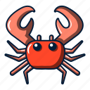 beach, cartoon, crab, logo, object, ocean, wildlife