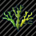 cartoon, logo, object, sea, seaweed, underwater, weed