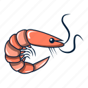 animal, appetizer, cartoon, logo, object, prawn, shrimp icon
