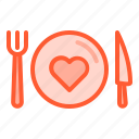 food, fork, health, knife, plate icon