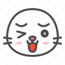 animal, avatar, emoji, face, seal, wink