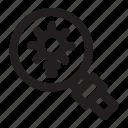 bulb, exploration, find, idea, loupe, search icon