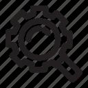 exploration, find, gear, machine, repair, search icon