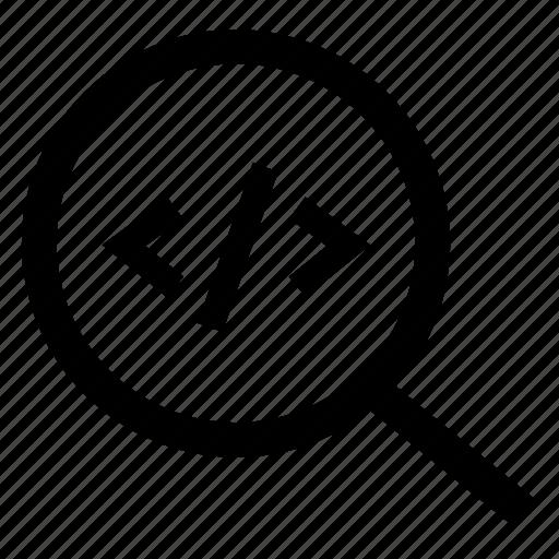 code, development, inspection, programming script, scan, search icon