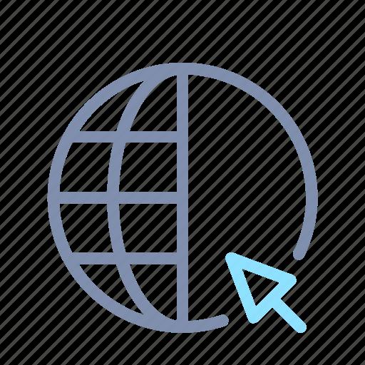 global, globe, international, internet, online, pointer, seo icon