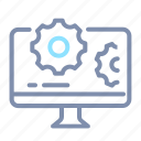 computer, desktop, gear, optimization, seo, web, website icon